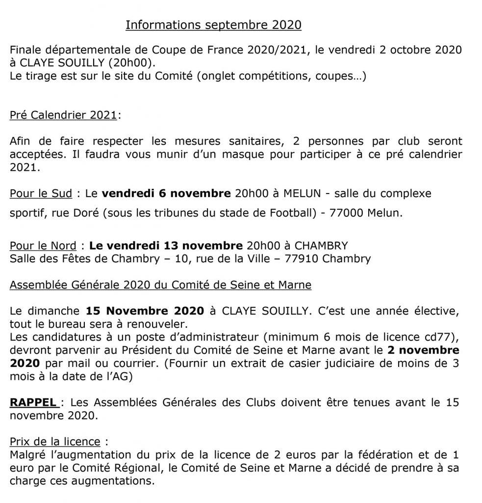 Informations septembre 2020 – Comité de Seine et Marne de Pétanque