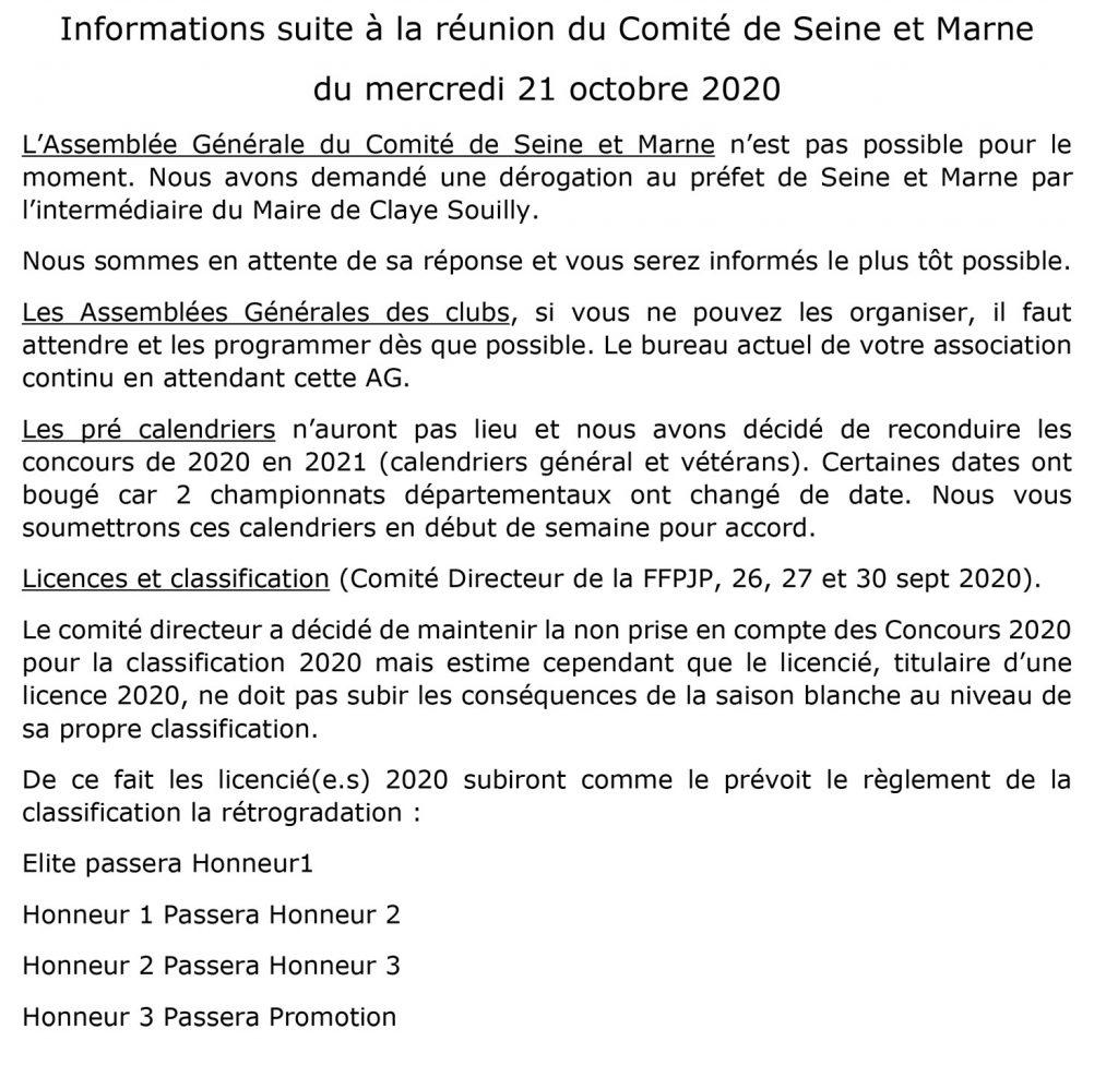 Informations Octobre 2020 – Comité de Seine et Marne de Pétanque